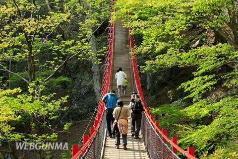 小中大滝の遊歩道に架かるつり橋「けさかけ橋